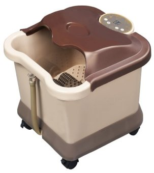 Carepeutic Deluxe Motorized Foot and Leg Spa Bath Massager, Light Burgundy/Brown