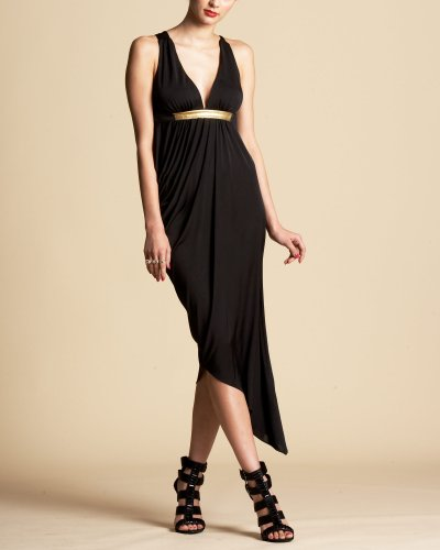 Bebe Gold Trim Asymmetric Dress
