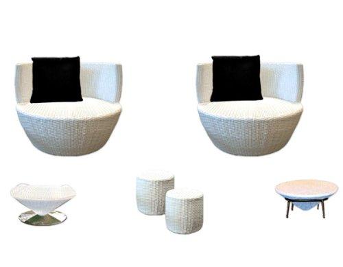 9 tlg. Gartenmöbel Tisch Sessel Fußbank Polyrattan, Möbel-Ei