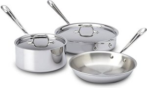 All-Clad-401599-Stainless-Steel-Tri-Ply-Bonded-Dishwasher-Safe-Cookware-Set