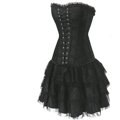 Sexy Corsagenkleid Corsage Kleid Mini Rock Partykleid Petticoat Erotik schwarz -1377C-