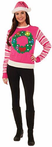 Pink Christmas Wreath Light Up Sweater 75825