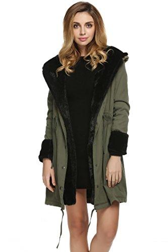 ZEARO Mantel Jacke Damen Übergangsjacke Winter Mantel Jacke Imitat Pelzmantel mit Kapuze Parka lange Warme Outwear Gr.S-XXXL