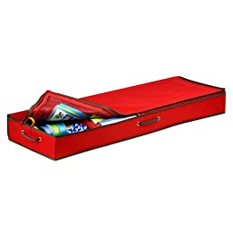 Product Image Honey-Can-Do SFT-01598 Wrapping Paper and Bow Storage Organizer, Holiday Red