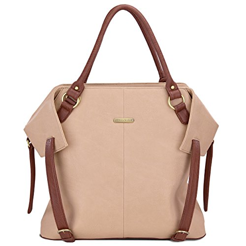timi & leslie Charlie 7-Piece Diaper Bag Set, Sand/Cinnamon