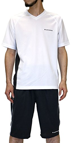 (コンバース) CONVERSE 上下セット メンズ セットアップ トレーニングウェア 速乾 Vネック スポーツシャツ ハーフパンツ ショートパンツ 3color M ホワイト