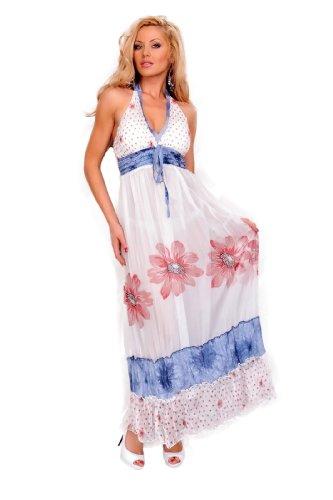 Astrapahl, sehr schönes sommerliches langes Kleid, Farbe weiss-blau-bordeaux, Gr. One Size