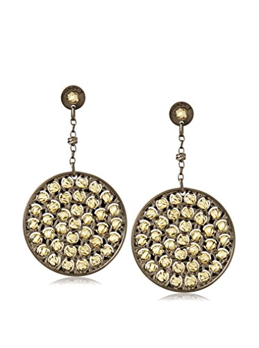 Argento Vivo Medium Disk Drop Earrings With Diamond Cut Beads