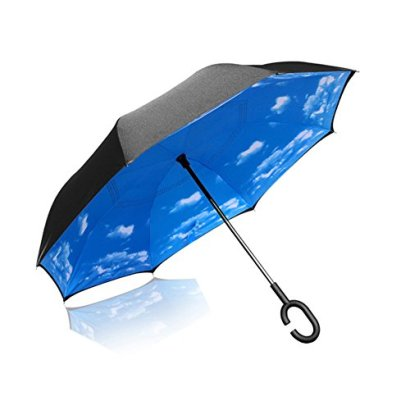 Double-Layer-Inverted-Umbrella-Cars-Reverse-Umbrella-Elover-Windproof-UV-Protection-Big-Straight-Umbrella-for-Car-Rain-Outdoor-With-C-Shaped-Handle-and-Carrying-Bag-Sky-Blue