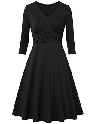 Bebonnie-Womens-34-Sleeve-Ruched-Waist-A-Line-Classy-Casual-Party-Cocktail-Dress