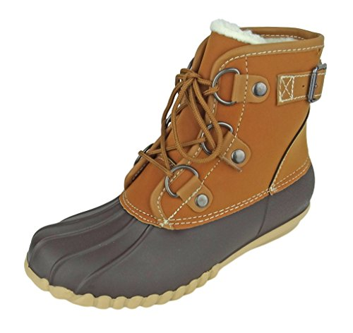 Outwoods Women's Autumn-3 Two-Tone Lace-Up Duck Boot Rain Ankle Bootie, Brown, 9 B(M) US
