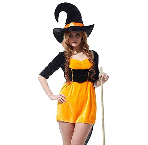 Hoshizoraya パンプキン 色が キュート で 可愛い ミニスカート 魔女 コスチューム ( ドレス 帽子 セット ) ハロウィン ウィッチ コスプレ