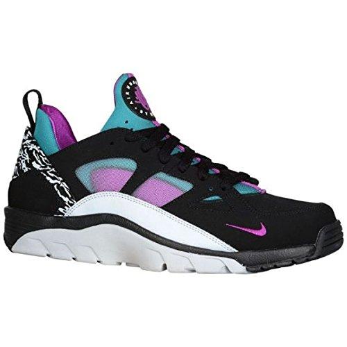 (ナイキ) Nike Air エアー エア Trainer トレイナー Huarache ハラチ Low - Men's メンズ 男性用 Black ブラック/Pure ピュアー 靴 シューズ  Platinum プラチナム/Radiant Emerald/Vivid Purple パープル [並行輸入品]
