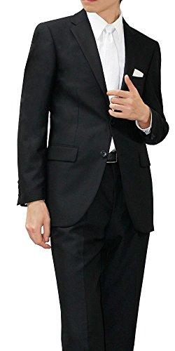 (メイシン)meisin オールシーズン 2つボタン シングルフォーマル アジャスター付 メンズ ブラックスーツ 喪服 礼服 AB4 (ややゆったり/Sサイズ)