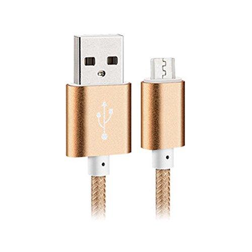 純正品質 Micro USB ケーブル Android コネクター 過充電防ぐ Micro USBコネクター タブレットPC デジカメ 1.5m スマートフォン ファブリックスリープ カラフル USBケーブルXperia samsung galaxy HTC nexus 5 ゴールド