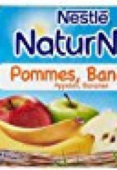 Livres Couvertures de Nestlé Bébé Naturnes Pommes Bananes Compote dès 4 mois 4 x 130g - Lot de 3