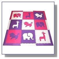 SoftTiles Safari Animals Interlocking Foam Play Mat w/sloped borders (Purple, Pink, White) Jumbo Play Mat 78