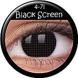 Fasching Kontaktlinsen Farbige Kontaktlinsen crazy Kontaktlinsen crazy contact lenses schwarz Black 1 Paar mit 60ml Kombilösung und Kontaktlinsenbehälter