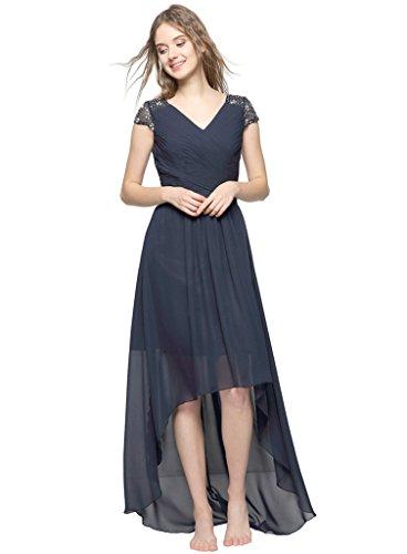 Judi Dench@ Damen V-Ausschnitt Cocktail Ballkleid High-Low Abendkleider Braujungfernkleider