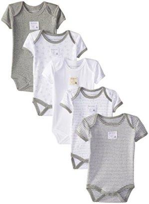 Burts-Bees-Baby-Boys-Organic-5-Pack-Short-Sleeve-Bodysuits-Heather-Grey-0-3-Months