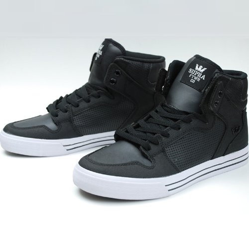 [スープラ]SUPRA VAIDER LEATHER BLACK MICROPERF LEATHER 正規取扱店 9.5(27.5cm) BLACK