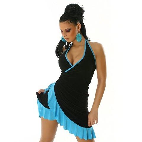Sommerkleid & Tanzkleid in Wickeloptik zweifarbig Einheitsgröße (34-38)