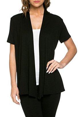 12-Ami-Basic-Solid-Short-Sleeve-Open-Front-Cardigan-Black-2X