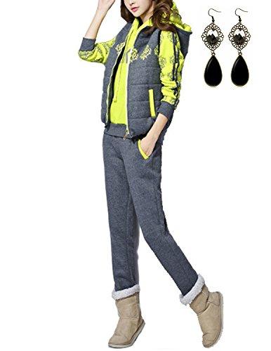Sitengle Damen Sportanzug Dreiteilig Sportpaket Sportbekleidung Freizeit Kapuzenpullover Hoodie Jogginganzug Kapuzenjacke Sweatshirt + Weste + Hose