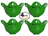 Egg Poacher Pack of 4 - Silicone Egg Poachers For Cooking Perfect Poached Eggs In Just Minutes! Replaces Your Egg Cooker / Egg Boiler / CookWare / Microwave Egg Cooker, Its a Must Have Kitchen Gadget