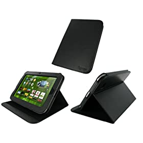 rooCASE Multi-Angle (Black) Leather Folio Case Cover for Lenovo IdeaPad K1 10.1-Inch Android Tablet