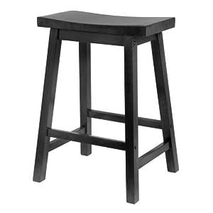 Winsome Wood Saddle Seat 29-Inch Bar Stool, Black