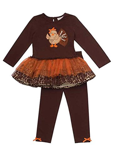 Rare Editions Emily Rose Little Girls' Brown Leopard TURKEY Tutu Leggings outfit, 2T