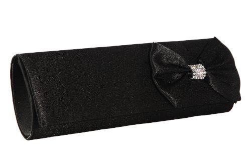 Handtasche Abendtasche Clutch Tasche Satin im Schwarz mit Schleife und Strass