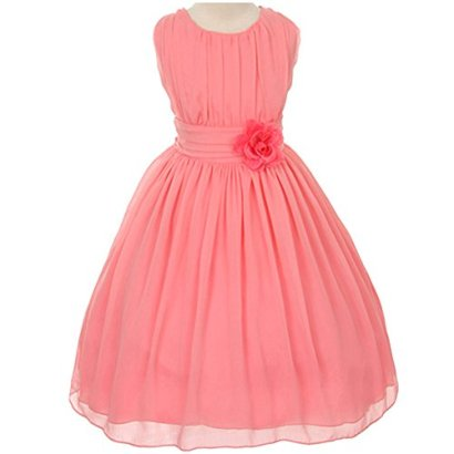 Adorable-Ruched-Round-Neck-Yoryu-Chiffon-Flower-Girl-Dress