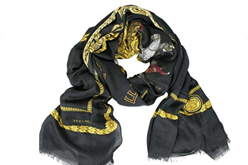 Versace Damen Schal Scarf Geschenkbox Made in Italy BO781 schwarz-gold