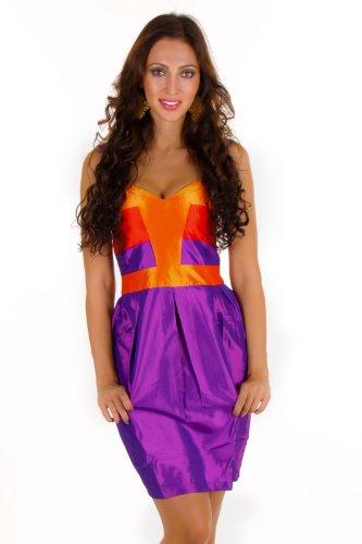 Damen Kleid Satin Coctailkleid Party Dress Abendkleid knielang S+M+L+XL+XXL, Größe:XXL;Farbe:Lila