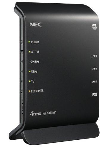 NEC AtermWF1200HP 11ac/n/a(5GHz帯)&11n/g/b(2.4GHz帯) 無線LAN親機(Wi-Fiルーター) 同時利用タイプ 867+300Mbps PA-WF1200HP