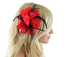 First Love Feather Fascinator Hair Clip Hat Pin Accessory (Red)