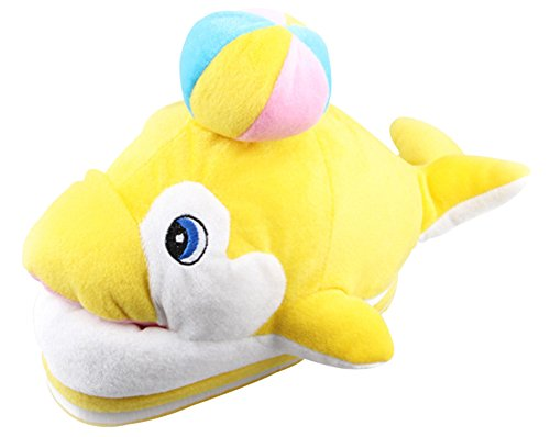 [Paws 'n' Claws] Cute Fuzzy Dolphin Ball Winter Warm Plush Slippers, Yellow