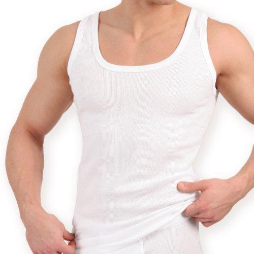 5er Pack Tank Top weiss – Herren Unterhemd Doppelripp (gerippt) – Sportjacke – 100% gekaemmte Baumwolle – Highest Standard – Einlaufvorbehandelt – original CELODORO Exclusive