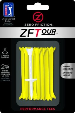Zero Friction Tour 3-Prong Golf Tees (2-3/4 Inch, Yellow, Pack of 40)