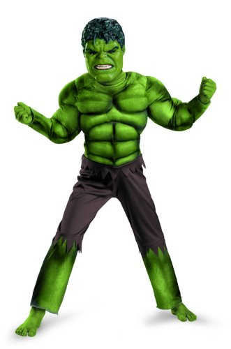 Avengers Hulk Classic Muscle Costume, Green/Brown, Large (10-12)
