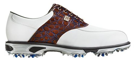 FootJoy Men's DryJoys Tour Spiked Golf Shoes, Close-out, White/Brown Gator Print 53686 (8.5 2E US)