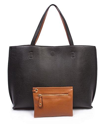 Overbrooke Reversible Tote Bag, Black & Tan - Large Vegan Leather Womens Shoulder Tote with Wristlet