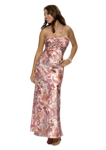Astrapahl, Elegantes Satin Abendkleid, lang, Farbe lila Multidruck, Gr.40