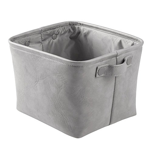 InterDesign Lauren Bathroom Storage Bin for Towels, Shampoo, Cosmetics - Medium, Vegan Leather, Gray