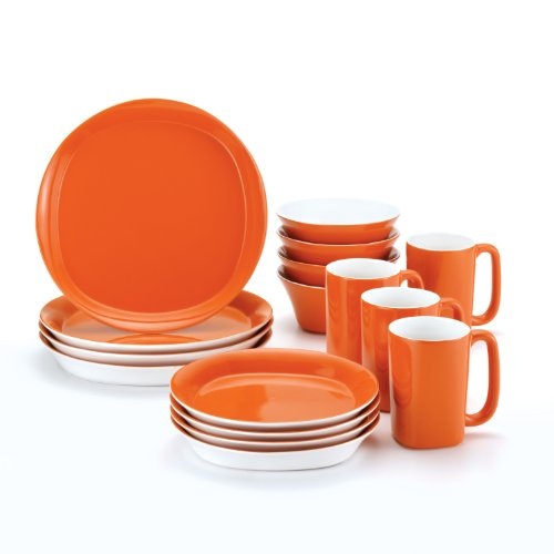 Rachael Ray Dinnerware Round & Square 16-Piece Dinnerware Set, Orange