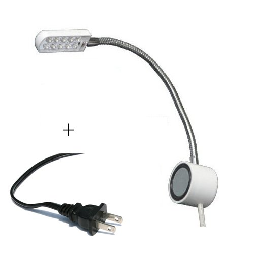 Magnetic Mounting Base Working Gooseneck Lamp 110v + 10 LED Light for Home or Sewing Machine