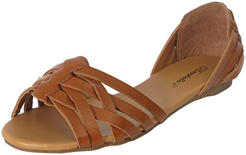 Breckelle's BRIGIT-07 Vegan Leather Huarache Slip On Flat Sandal Tan 7.5