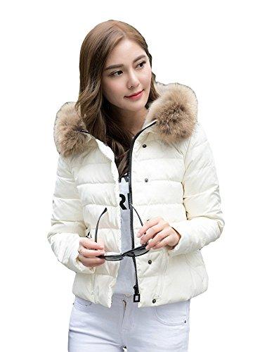 [ゼンアン]ZENAN レディース ダウンジャケット ファー付き フード ダウンコート 秋 冬 ふかふか 暖か Lサイズ ホワイト 日本正規品